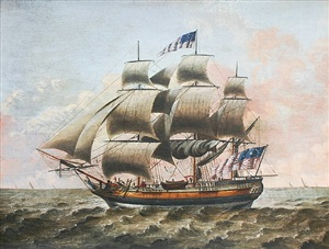 portrait of a ship at sea by michele felice cornè
