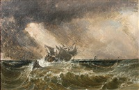 ship at sea in a squall by joshua shaw