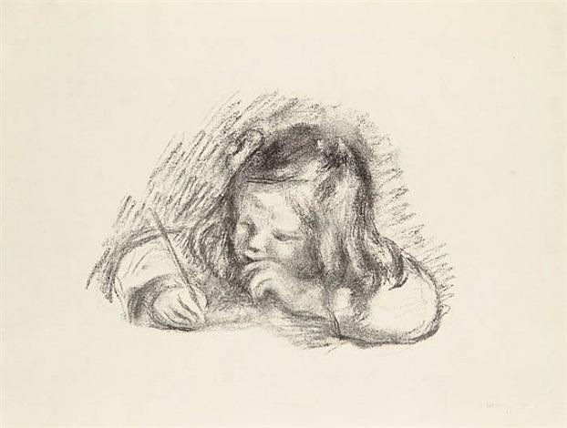 le petit garçon au porte-plume - portrait de claude renoir écrivant (little boy with a pen - portrait of claude renoir writing) by pierre-auguste renoir