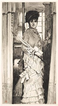 portrait de miss l . . . ou il faut qu'une porte soit ouverte (portrait of miss l . . . or a door must be either open or shut) by james jacques joseph tissot