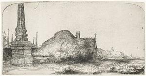 landscape with an obelisk by rembrandt van rijn
