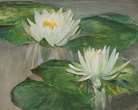 water lilies in white water -- study of faint sunlight by john la farge