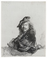 self-portrait leaning on a stone sill by rembrandt van rijn