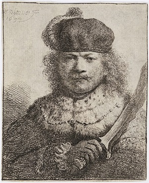 self-portrait with raised sabre by rembrandt van rijn