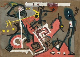 untitled (composition on brown) by jackson pollock
