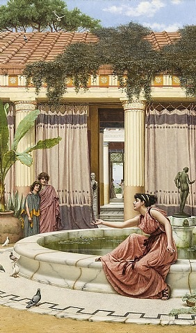 innocent amusements (balancing the feather) by john william godward