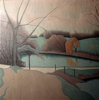 pond and willows, hampstead heath by bryan senior