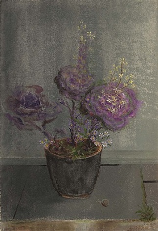 evening light on the terrace-(flowering cabbage and michaelmas daisy) by morris graves