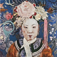 manchu lady with cherry lips by hung liu