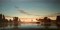 flooded river above the oxbow (rose horizon at dawn) - <i>sold</i> by stephen hannock