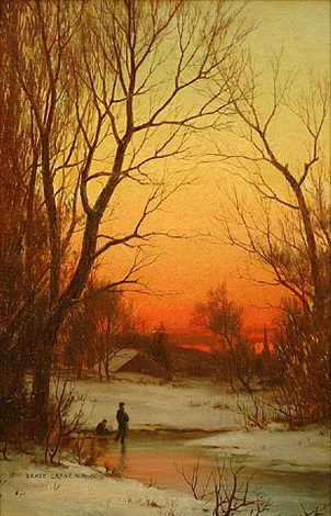 sunset: woods and pond by bruce crane