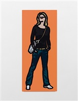 woman with her hands in her pockets wearing a shoulder bag and dark glasses. by julian opie