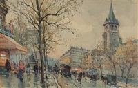 boulevard st. germain, paris by eugène galien-laloue