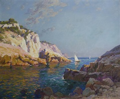 sail boats off the rocky mediterranean coast, france by antoine ponchin