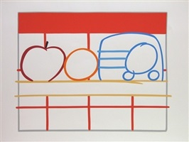 still life with apple, orange and radio by tom wesselmann