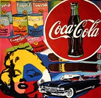 marilyn collage - coke, campbell's soup, cadillac, cigar by steve kaufman