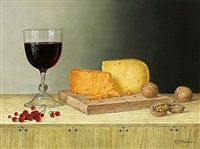red wine with cheeses and walnuts by roy hodrien