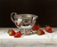cream jug with strawberries by roy hodrien