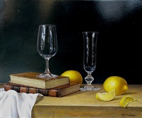 two glasses with sliced lemons by roy hodrien