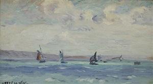 sailboats by emmanuel victor auguste marie de la villéon