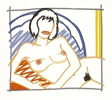 monica nude with yellow curtain by tom wesselmann