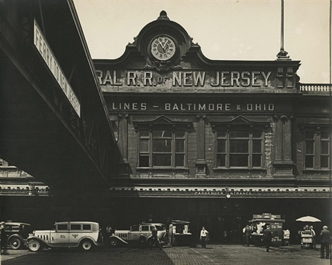 ferry: west street, foot of liberty street, manhattan by berenice abbott