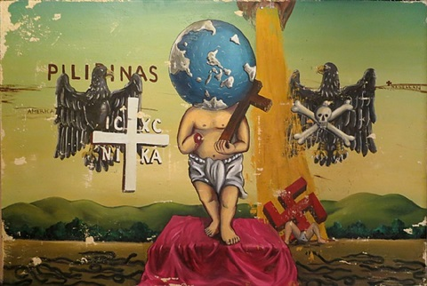 untitled (world man) by manuel ocampo