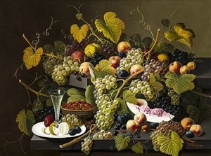 two-tiered still life of fruit by severin roesen
