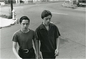 boys crossing intersection. 1982. by mark cohen
