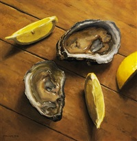oysters and lemon slices (sold) by michael naples