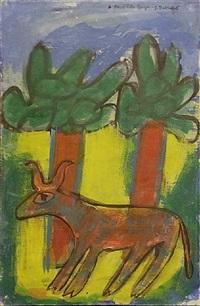 vache aux deux arbres, july 1943 by jean dubuffet