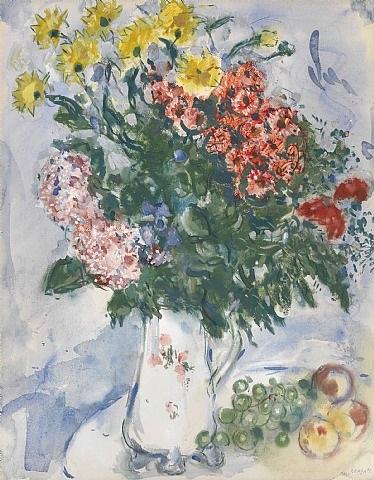 la cruche aux fleurs et fruits by marc chagall