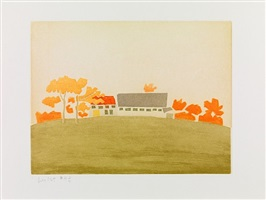house and barn, from small cuts, 1954/2008 by alex katz