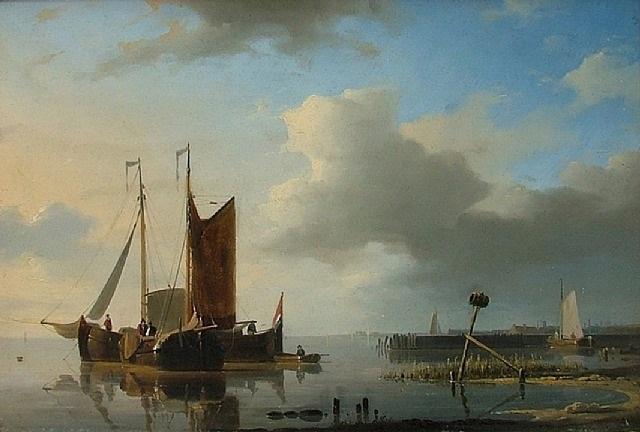 ships on calm water by abraham hulk the elder