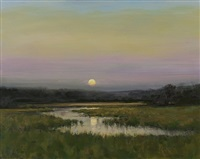 moon rising on a summer's eve (sold) by dennis sheehan