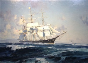 ship n.b. palmer off the golden gate, san francisco by john stobart