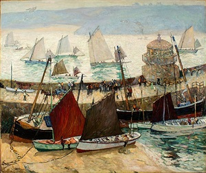 the old lighthouse and fleets of st. ives, cornwall by hayley lever