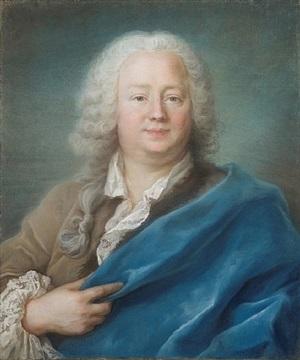 portrait en buste d'etienne letexier de mennetou (1670-173) à la cape bleue by hubert drouais