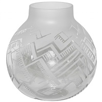 monumental frosted and etched glass vase by boris jean lacroix