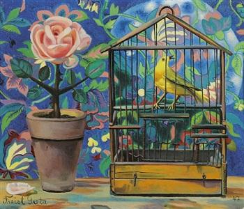 stilllife with rose and bird by greta freist
