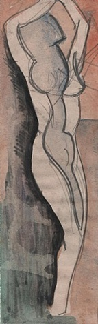 standing female nude by cuthbert hamilton