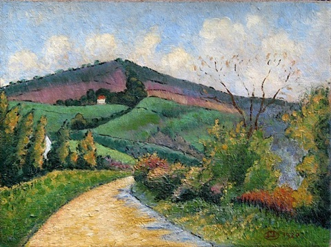 the hill at charmouth by lucien pissarro