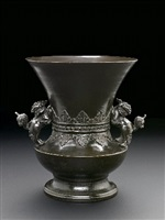 bronze temple flower vase
