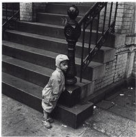 little boy and steps, new york city, 1949 by jerome liebling