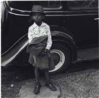 boy and car, new york city, 1949 by jerome liebling