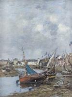 le port de trouville, marée basse by eugène boudin