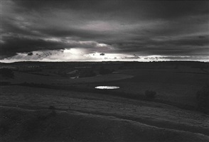 dew pond by iron age hill fort, somerset by don mccullin