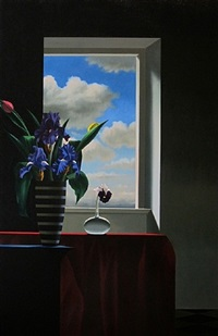 bearded iris in front of window by bruce cohen