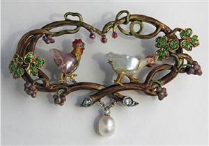 symbolist brooch the cockerel & the hen by wilhelm lucas von cranach