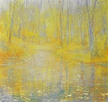 forest, luminous in yellow by david allen dunlop